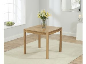 Promo 80 cm Solid Oak Dining Table + 2 Maiya Brown Fabric Chairs