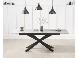 Britolli 180cm White Marble Ceramic Ext. Dining Table