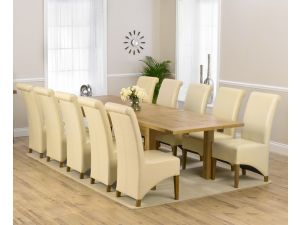 Rustique 220cm Ext. Dining Table + 10 Barcelona Chairs Set