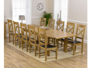 Rustique 220cm Ext. Dining Table + 10 Canterbury Chairs Set