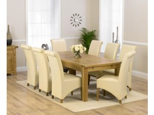 Rustique 220cm Ext. Dining Table + 8 Barcelona Chairs Set