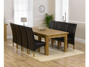 Rustique 220cm Ext. Dining Table + 8 Roma Chairs Set