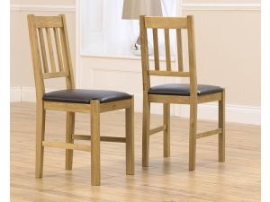 Promo Solid Oak Dining Chairs With Black Pu Seat (Pair)