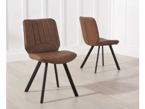 Damanti Brown Pu Leather Dining Chair pairs