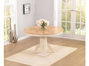 Elstree 120cm Painted Oak & Cream Wooden Round Dining Table