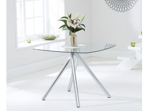 Elba 100cm Clear Glass Square Dining Table
