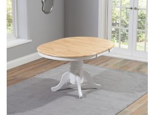 Elstree 100cm Painted Oak & White Wooden Ext. Dining Table