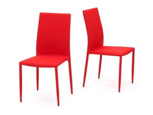 Ava Red Stackable Fabric Chairs (Pair)
