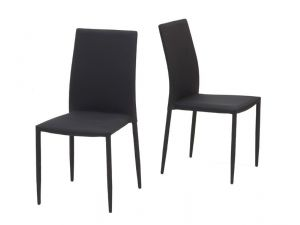 Ava Black Stackable Fabric Chairs (Pair)