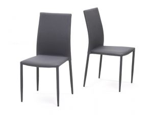 Ava Grey Stackable Fabric Chairs (Pair)
