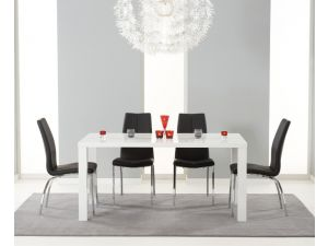 Ava 160cm High Gloss Dining Table With 4 Carsen Leather Chairs