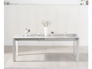 Violeta 140cm White Spanish Marble Effect Ext. Dining Table