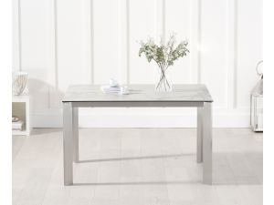 Alejandra 130cm White Spanish Marble Effect Rect. Dining Table