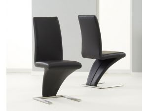 Hereford Black PU Leather Dining Chair X 2