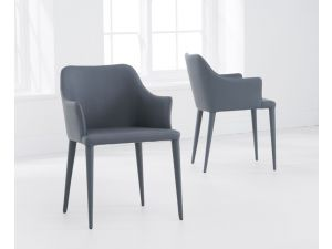 Cape Verdi Charcoal Grey Leather Dining Chair