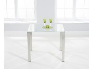 Sara 90cm Square Clear Glass Dining Table