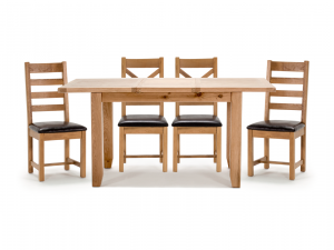 Ramore 120-165cm Ext. Oak Dining Table + Ladder Back Chairs