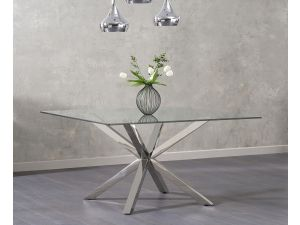 Remus Clear Glass Square Dining Table