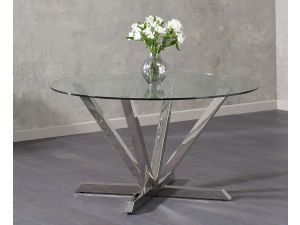 Rene Clear Glass Round Fixed Dining Table