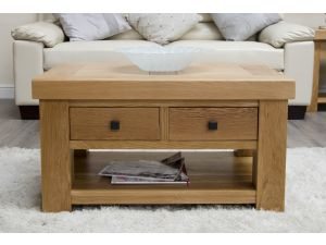 Bordeaux 3 x 2 Oak Coffee Table With Drawers