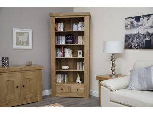 Bordeaux Oak Large Bookcase With Drawers