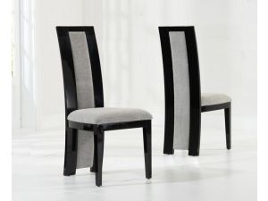 Rivilino Black Solid Wood And High Gloss Dining Chairs (Pair)