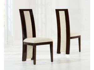Rivilino Brown Solid Wood And High Gloss Dining Chairs (Pair)