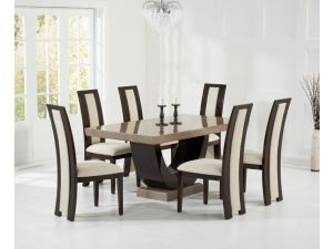 Rivilino 170cm Brown Constituted Marble Dining Table with Rivilino Brown Chairs