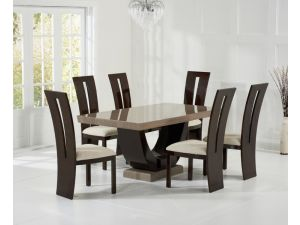 Rivilino 170cm Brown Constituted Marble Dining Table with Valencie Brown Chairs