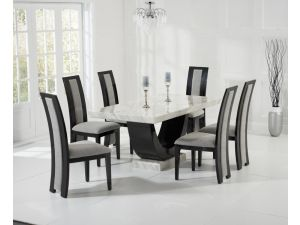Rivilino 170cm Cream and Black Constituted Marble Dining Table with Rivilino Black Chairs