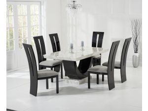 Rivilino 170cm Cream and Black Constituted Marble Dining Table with Valencie Black Chairs