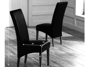 Roma Black Leather Dining Chairs With Solid Oak Legs - Pair