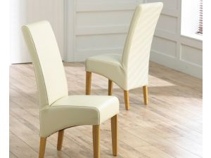Roma Cream Leather Dining Chairs With Solid Oak Legs - Pair