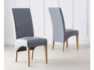Roma Grey Bycast Leather Dining Chairs (Pair)