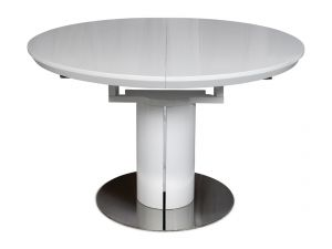Fairmont Romeo High Gloss Round Ext Dining Table White - 120-160cm