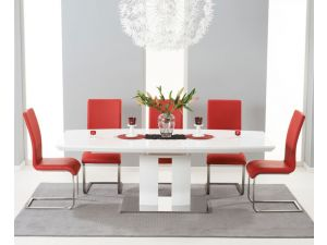 Rossini 180cm High Gloss Extending Dining Table With 6 Malibu Leather Chairs