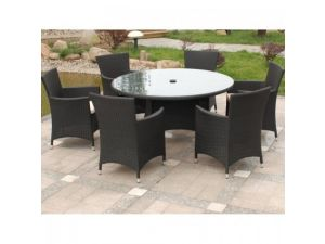 Royalcraft Cannes Black Rattan 6 Seater Round Dining Set