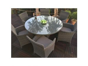 Royalcraft Paris 6 Seater Round Rattan Dining Set With Carver Chairs