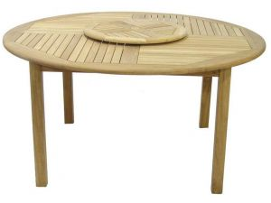 Royalcraft Virginia 150cm Round Fixed Leg Wooden Table with Lazy Susan