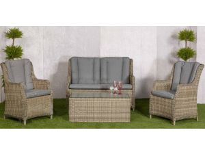 Royalcraft Wentworth 4pc Highback Rattan Lounging Sofa Set with Coffee Table