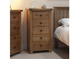 Rustic Oak 5 Drawer Narrow Chest