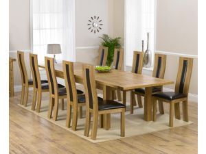 Rustique 220cm Ext. Dining Table + 10 Havana Chairs Set