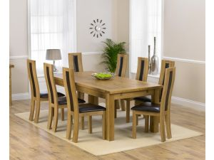 Rustique 220cm Ext. Dining Table + 8 Havana Chairs Set