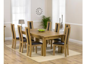 Rustique 220cm Ext. Dining Table + 8 John Louis Chairs Set