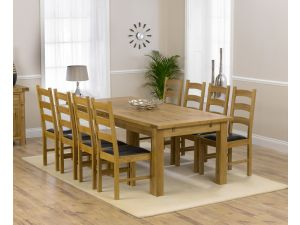 Rustique 220cm Ext. Dining Table + 8 Valencia Chairs Set