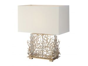 RV Astley Gable Antique Brass And Clear Crystal Table Lamp