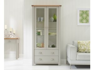 Sandringham Grey Clear Glass Wooden Display Cabinet