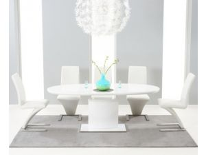 Seville 160 MDF High Gloss Extending Dining Table With 6 Hereford White Chairs
