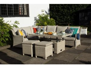 03f25228efe9 Royalcraft Seychelles Rattan 7Pc Deluxe Modular Corner Dining Garden Set  with WS Cushions
