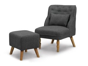 Shirley CHARCOAL GREY ARMCHAIR & STOOL